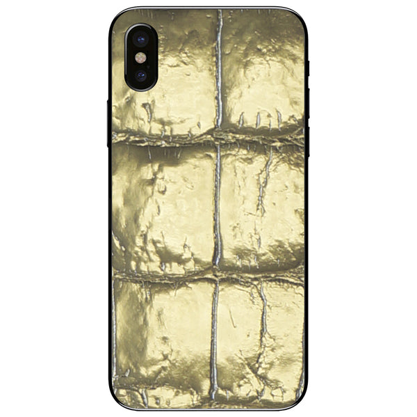 Gold Alligator iPhone XS Leather Skin