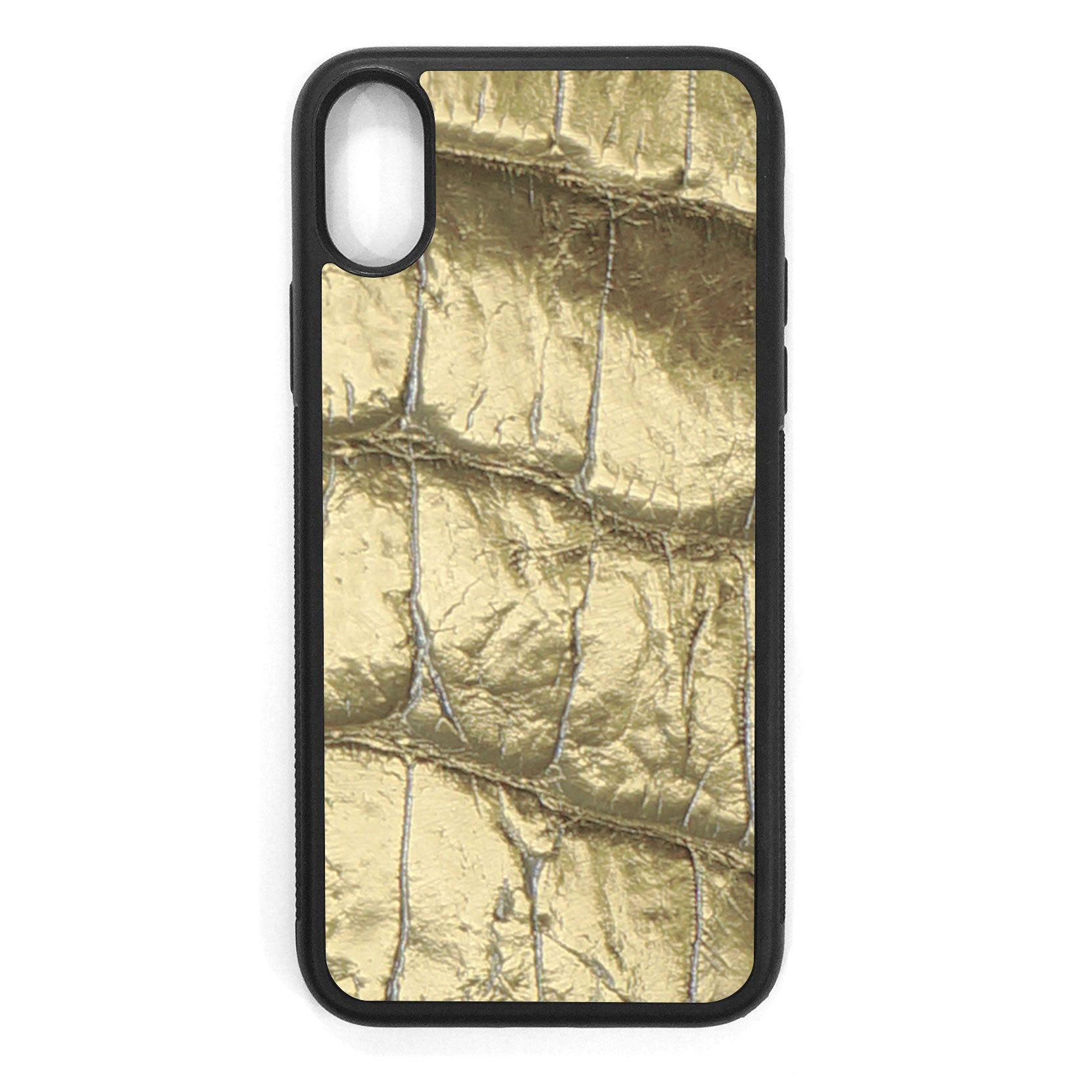 Gold Alligator iPhone XS Leather Case