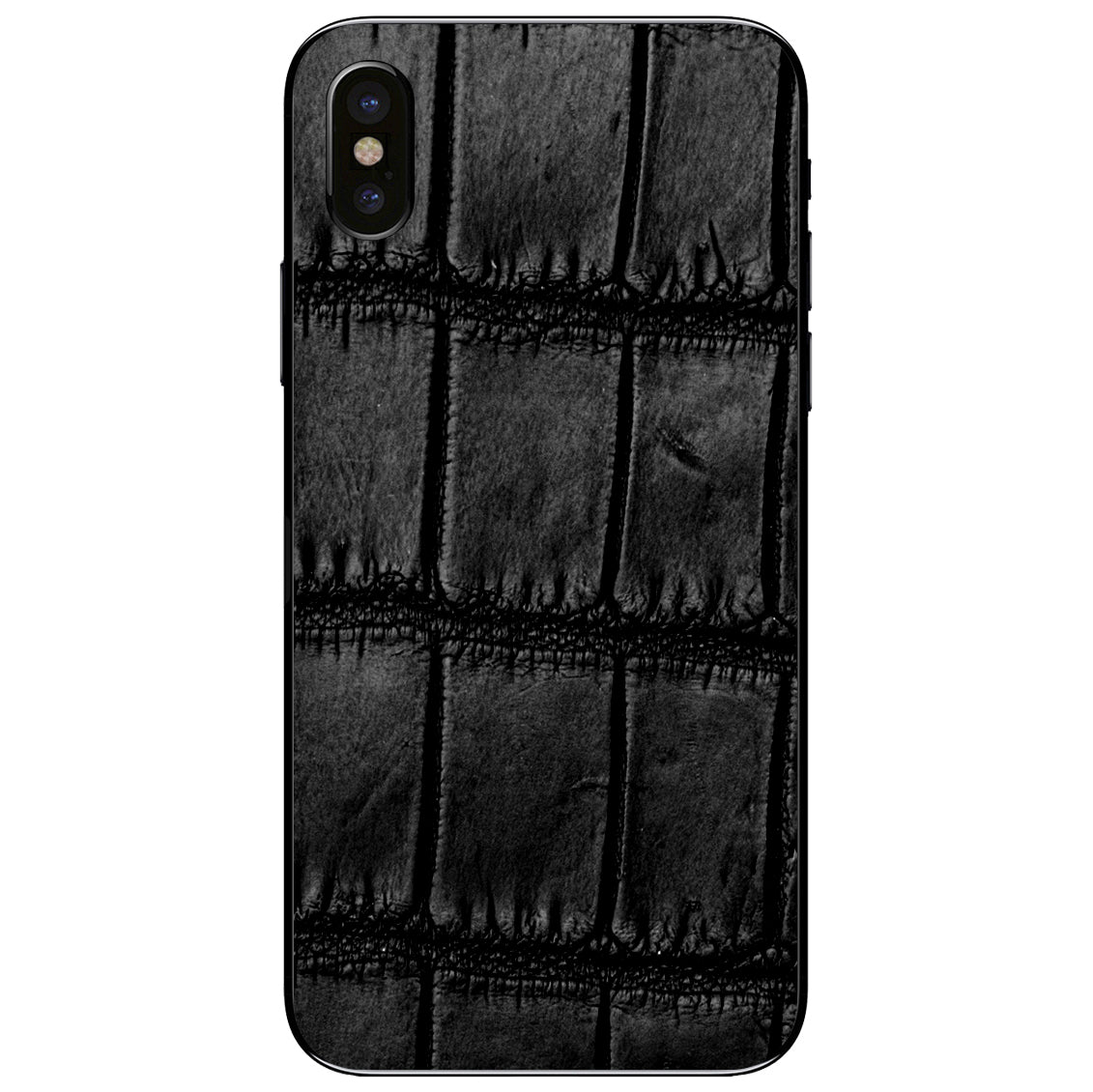 Oiled Black Alligator iPhone XS Leather Skin