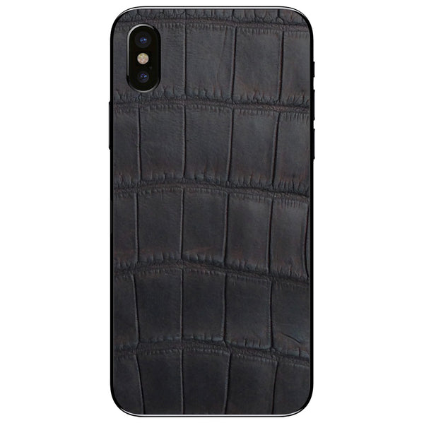 Oiled Brown Alligator iPhone XS Leather Skin