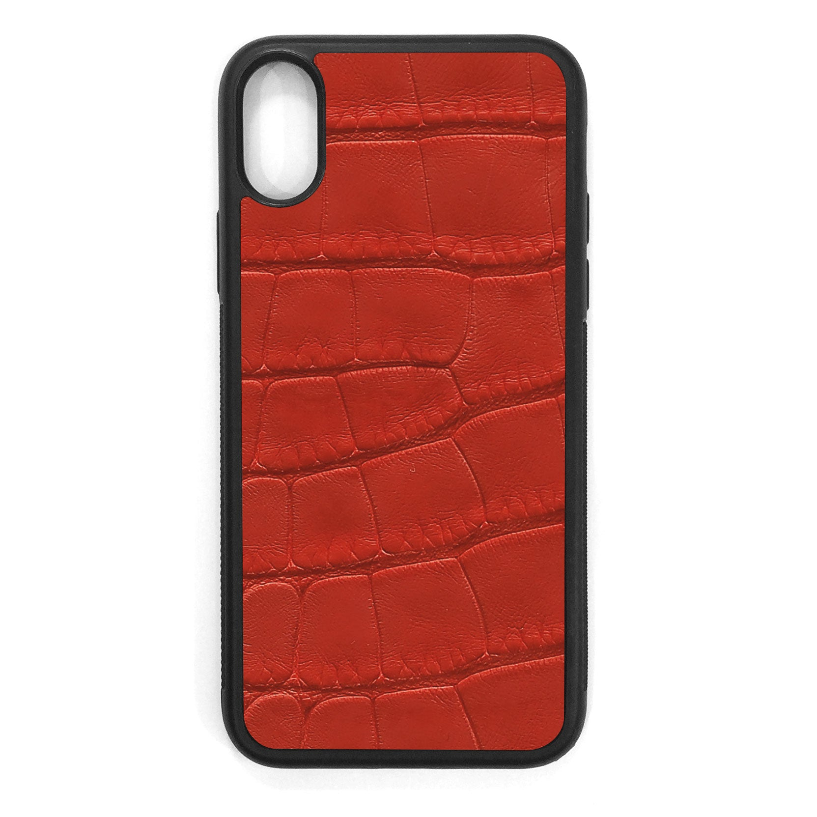 Red Alligator iPhone XS Leather Case
