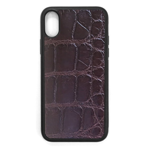 XL Brown Alligator iPhone XS Leather Case