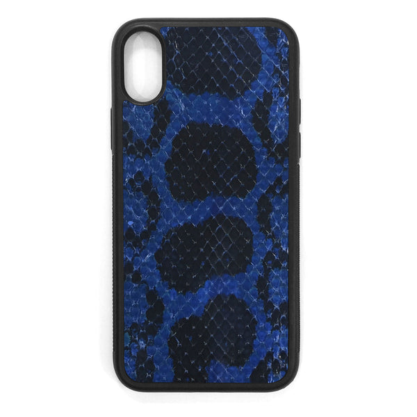 Cobalt Anaconda iPhone X Leather Case