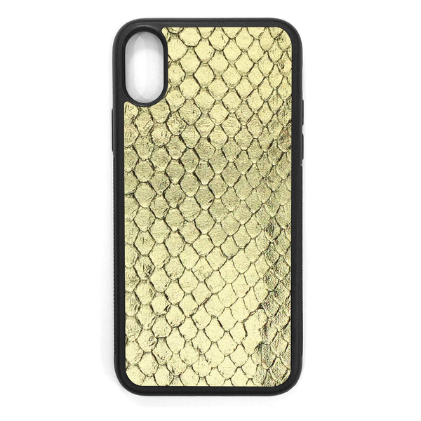 Gold Foil Anaconda iPhone XS Leather Case