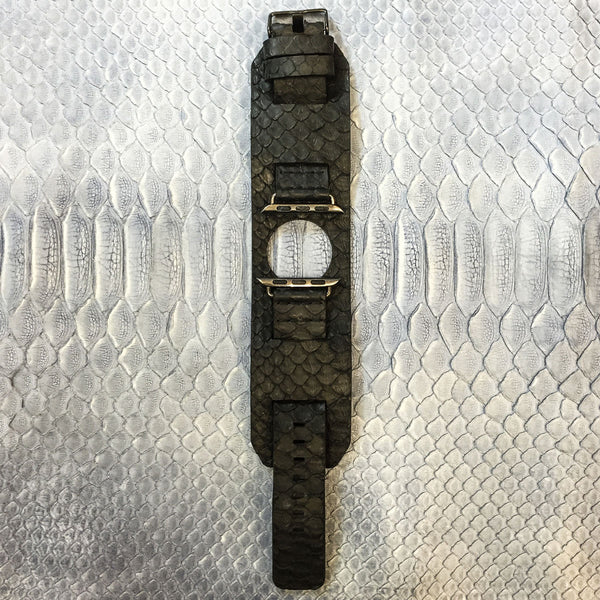 Black Python Leather Apple Watch Strap
