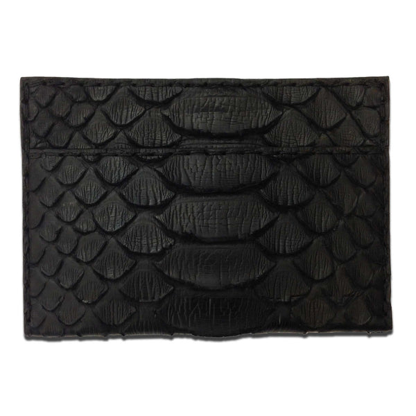 Black Python Leather 3 Pocket Card Holder