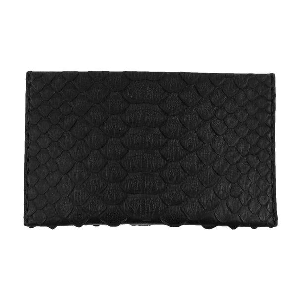 Black Python Leather Card Holder