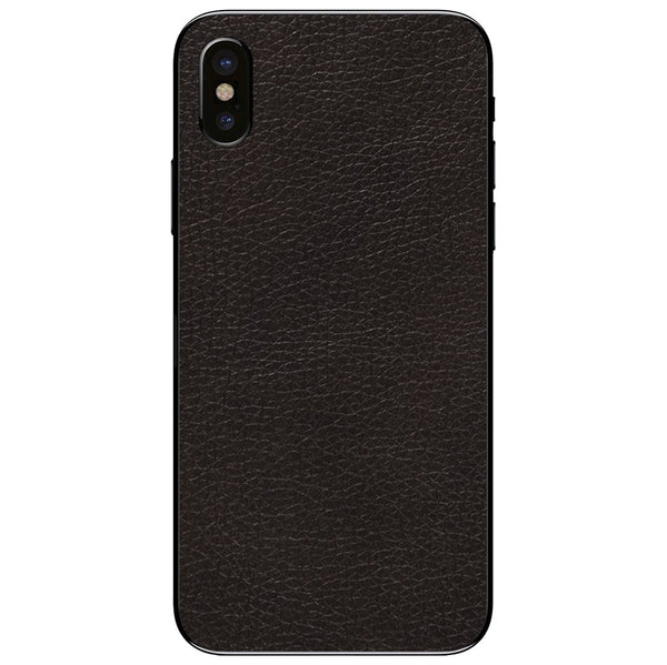Black iPhone XS Leather Skin