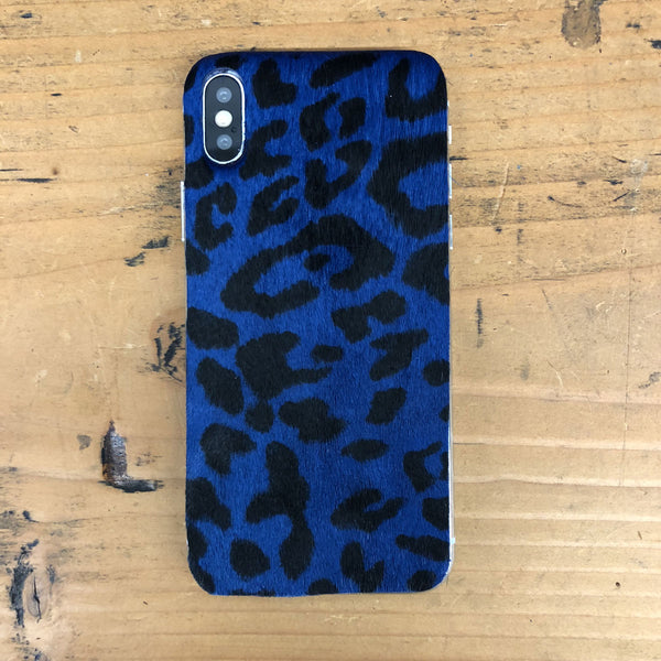 Blue Cheetah Print Calf Hair iPhone XS Leather Skin
