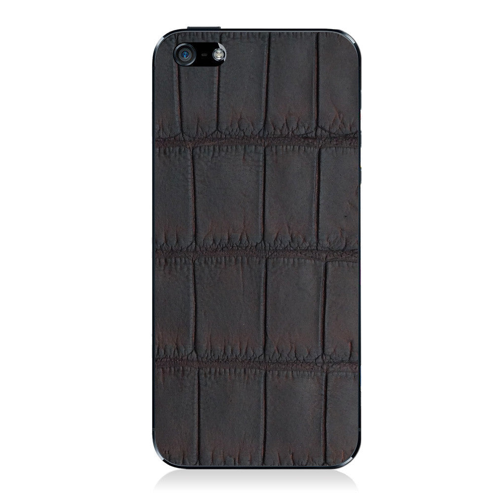 Brown Oiled American Alligator iPhone 5 - 5S - SE Leather Skin