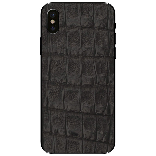 Black Crocodile iPhone X Leather Skin