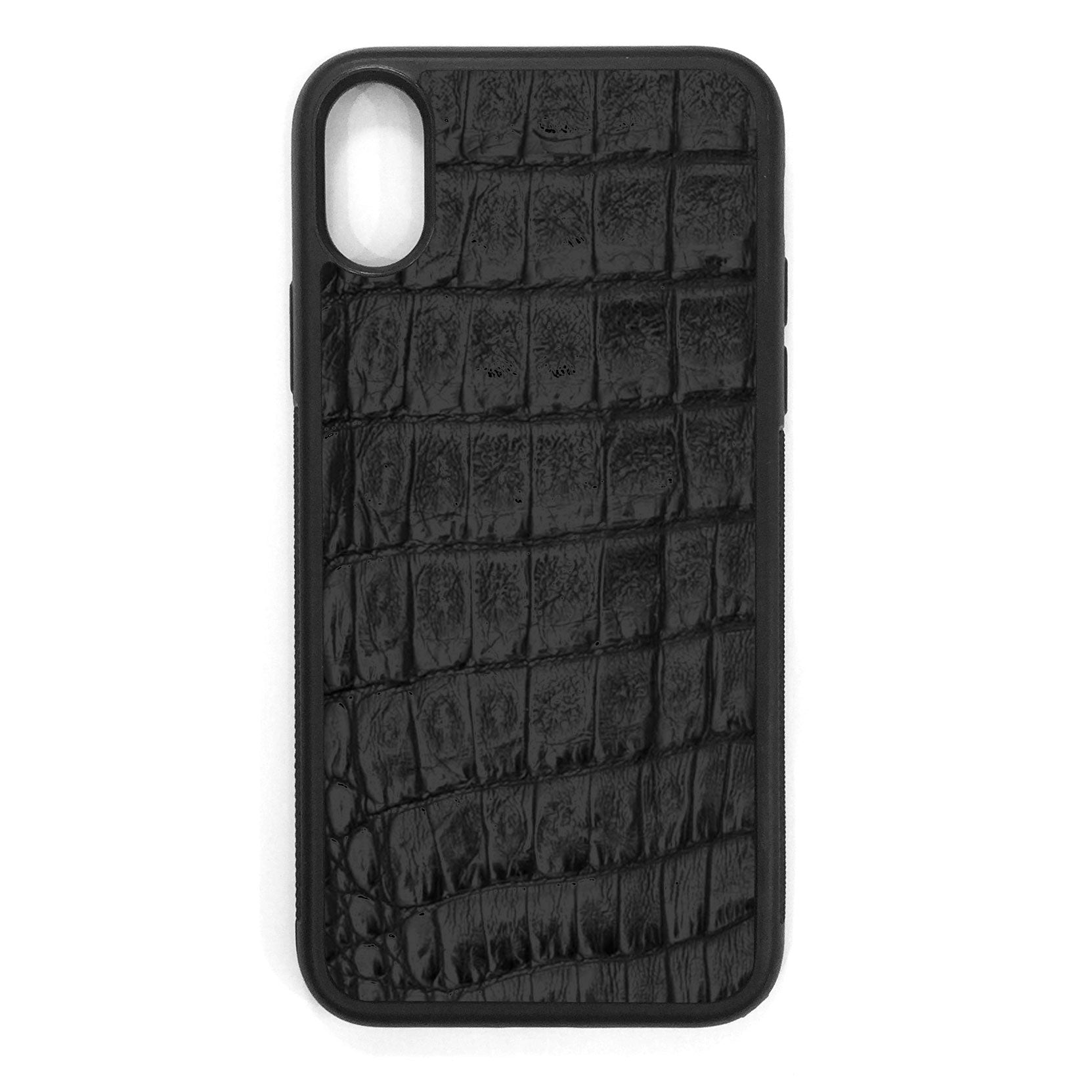 Black Crocodile iPhone X Leather Case