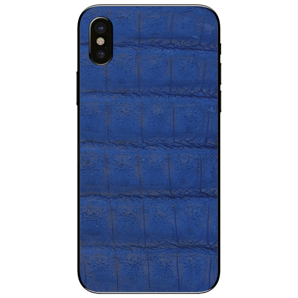 Cobalt Crocodile iPhone X Leather Skin