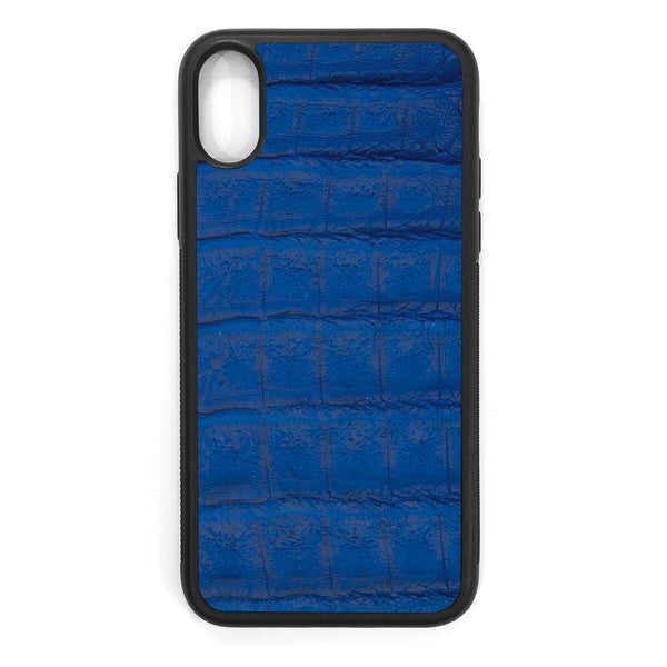 Cobalt Crocodile iPhone X Leather Case