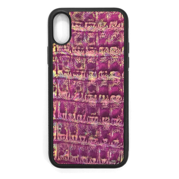 Metallic Purple Crocodile iPhone XS Leather Case
