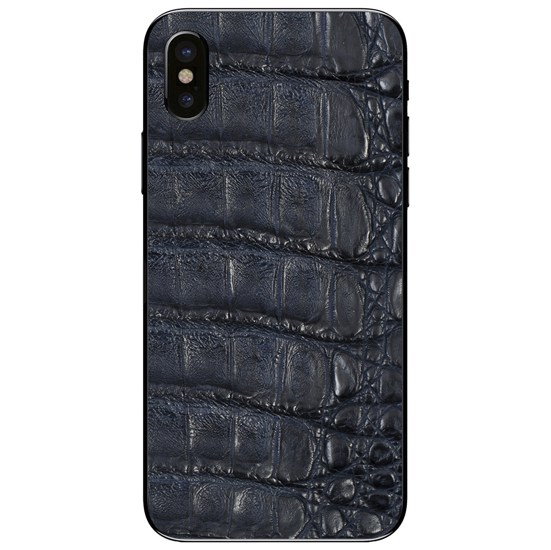Navy Crocodile iPhone X Leather Skin