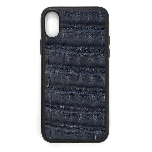 Navy Crocodile iPhone X Leather Case
