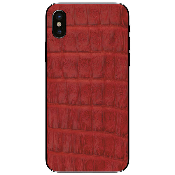 Red Crocodile iPhone XS Leather Skin