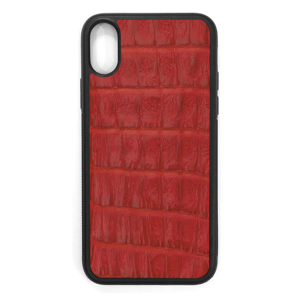 Red Crocodile iPhone XS Leather Case