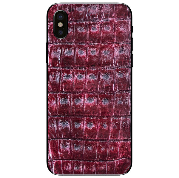 Cherry Crocodile iPhone X Leather Skin
