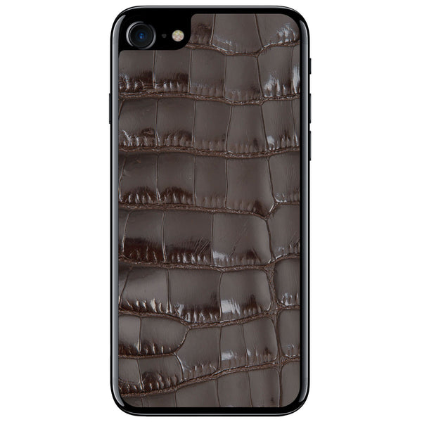 Gloss Brown Alligator iPhone 8 Leather Skin