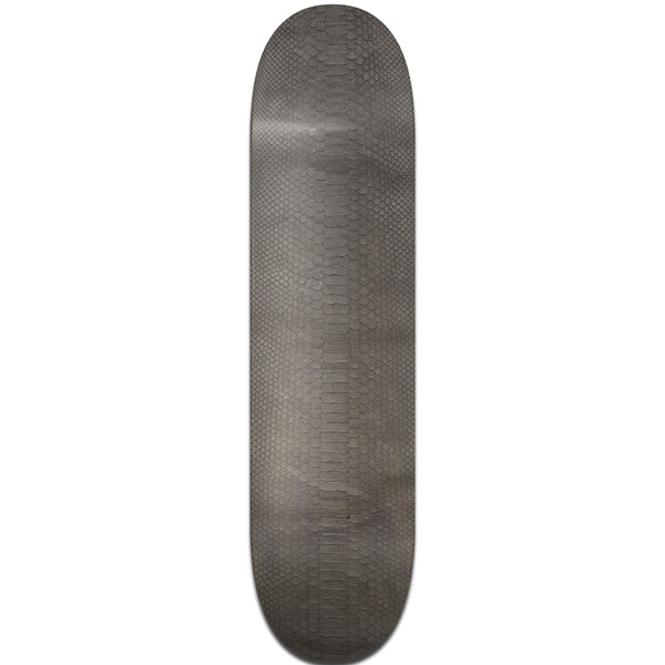 Gray Python Leather Skateboard Deck - Top