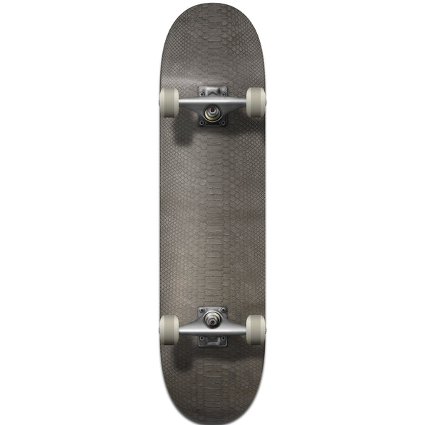 Gray Python Leather Skateboard Deck - Bottom
