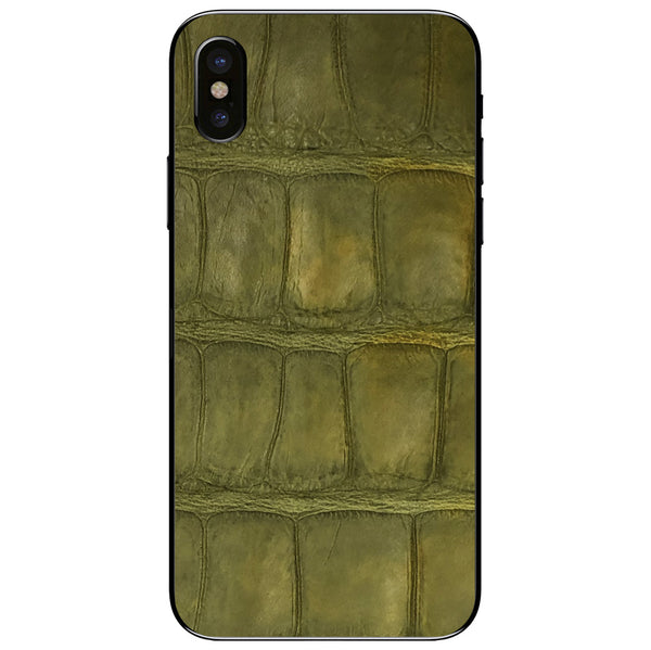Green Alligator iPhone XS Leather Skin