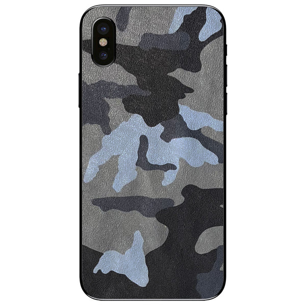 Blue Camouflage iPhone X Leather Skin