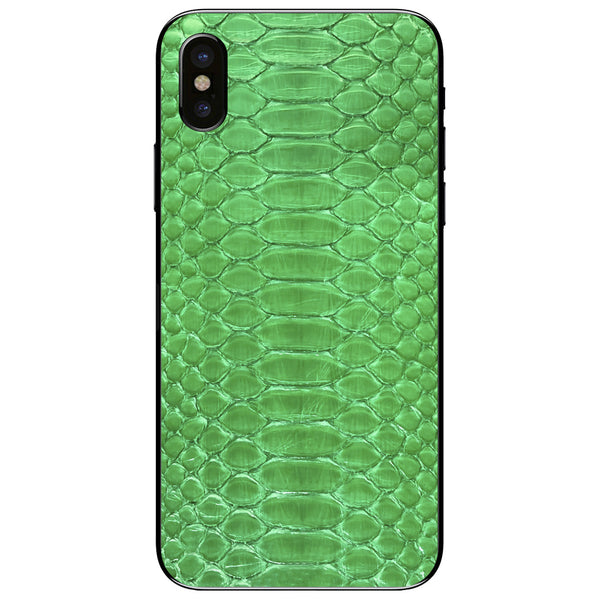 Lime Green Python iPhone XS Leather Skin