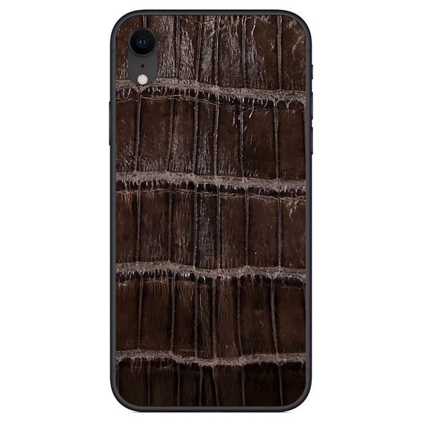 Gloss Brown Alligator iPhone XR Leather Skin