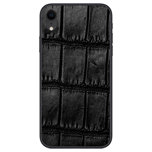 Oiled Black Alligator iPhone XR Leather Skin