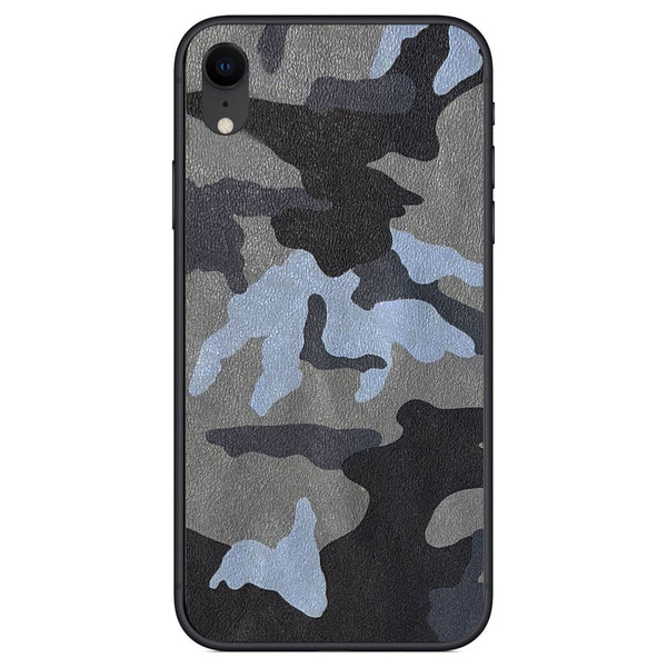 Blue Camouflage iPhone XR Leather Skin