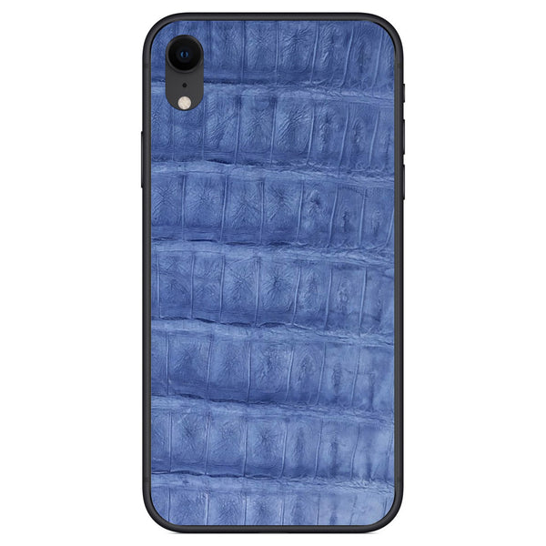 Light Blue Crocodile iPhone XR Leather Skin