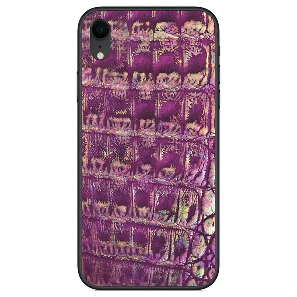 Metallic Purple Crocodile iPhone XR Leather Skin