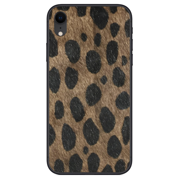 Brown Leopard Print Calf Hair iPhone XR Leather Skin