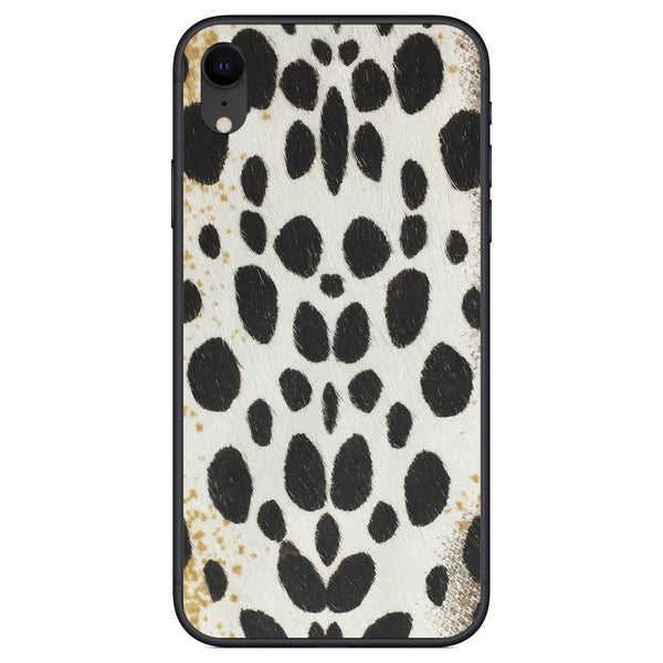 White Leopard Print Calf Hair iPhone XR Leather Skin