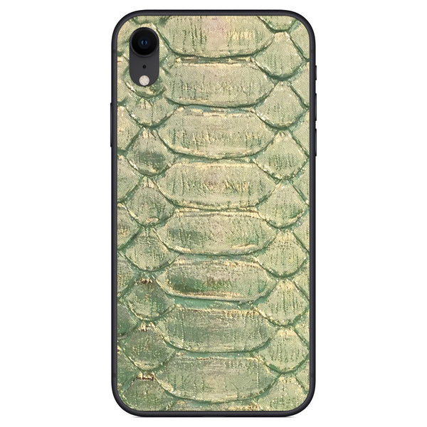 Emerald and Gold Python iPhone XR Leather Skin