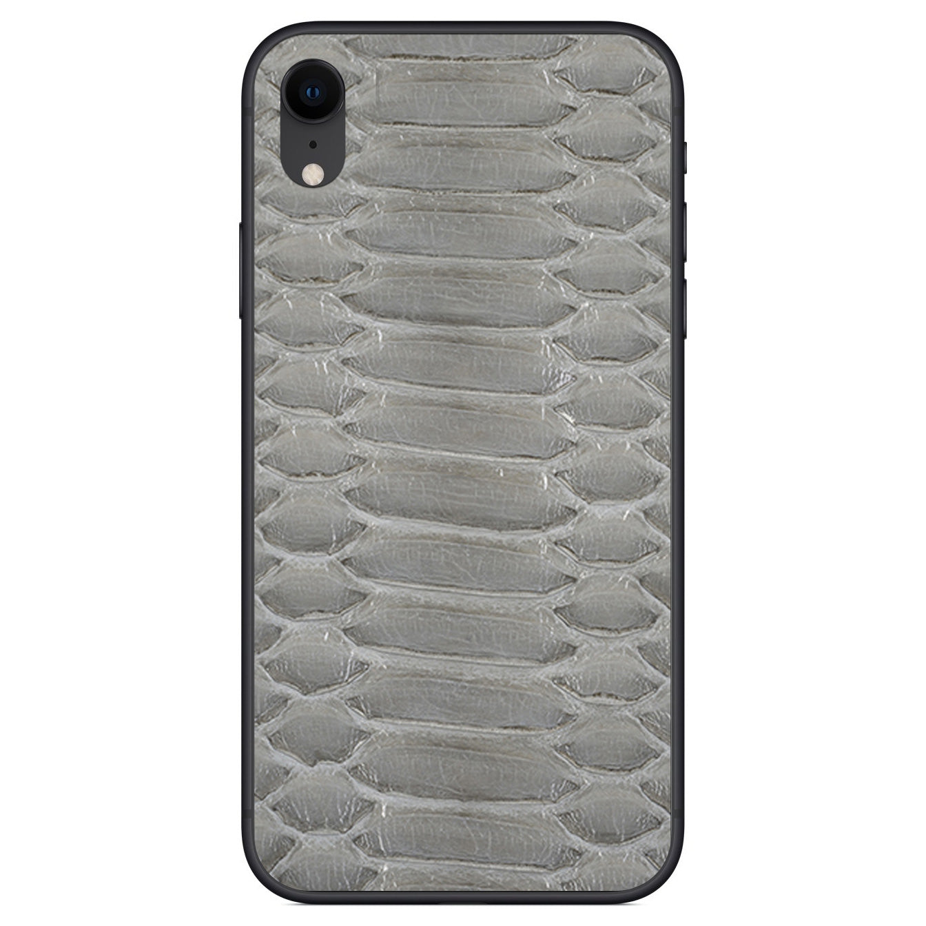 Gloss Gray Python iPhone XR Leather Skin