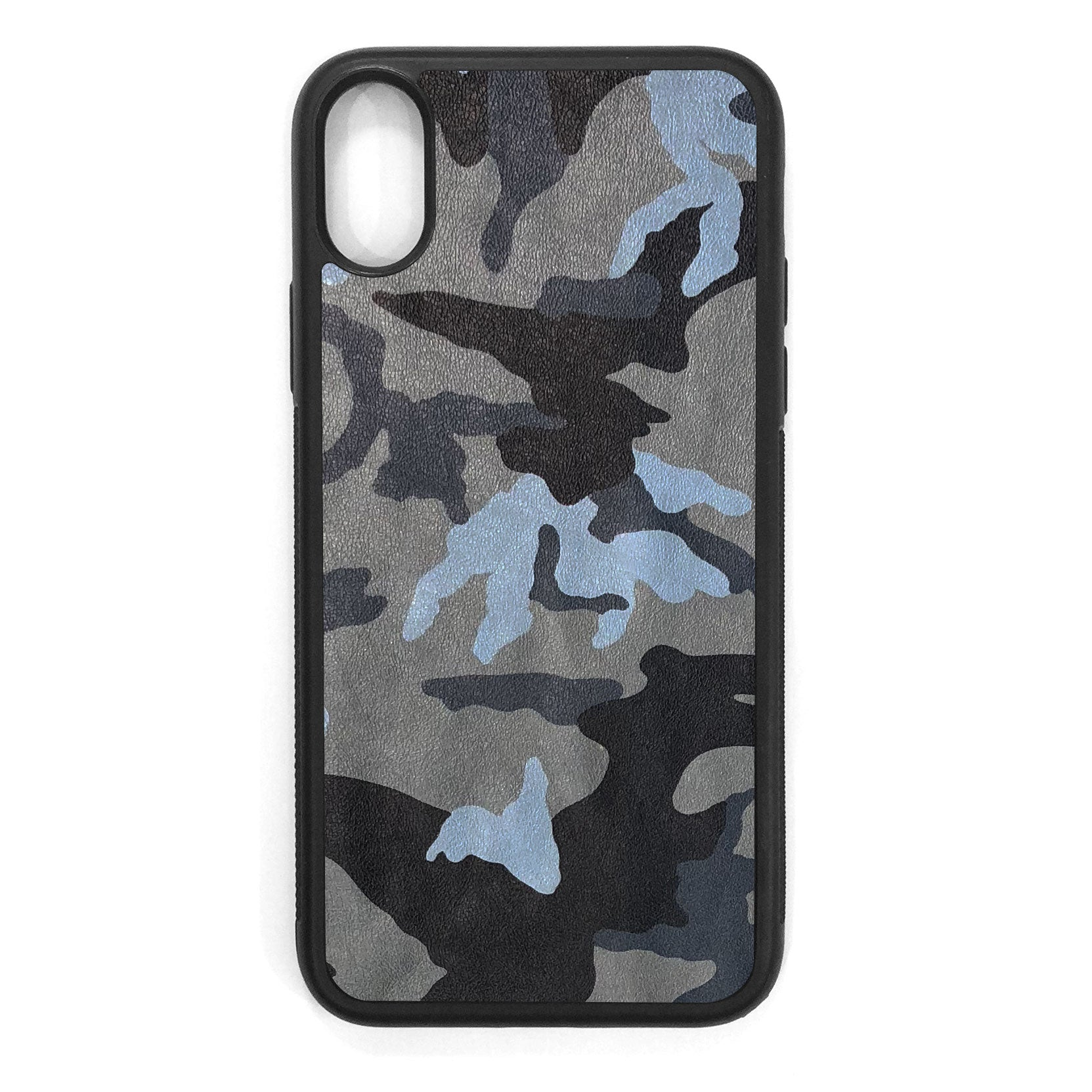 Blue Camouflage iPhone X Leather Case