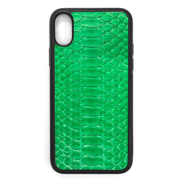 Lime Green Python iPhone XS Leather Case