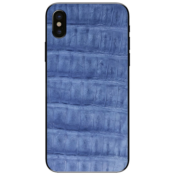 Light Blue Crocodile iPhone XS Leather Skin