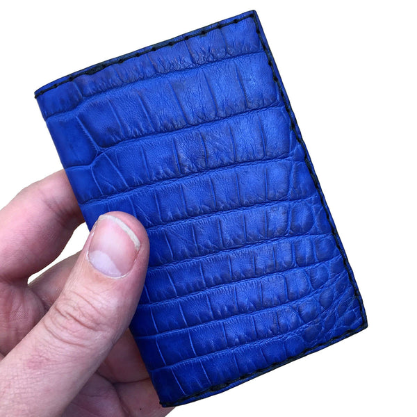 Cobalt Crocodile Leather 2 Pocket Mini Wallet