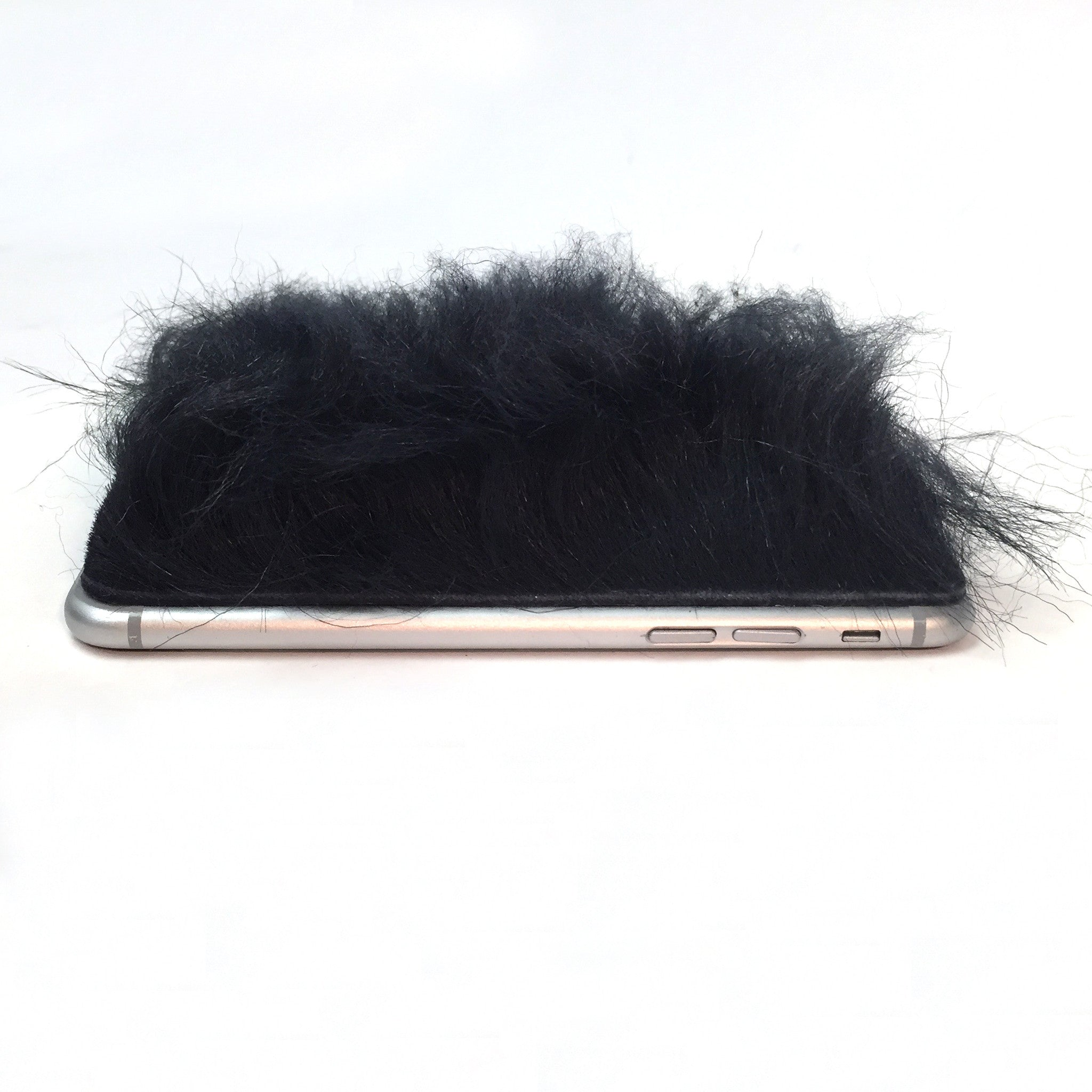 Navy Mongolian Lamb Fur iPhone 8 Leather Skin