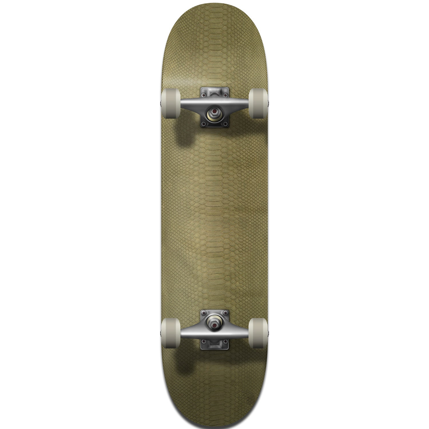 Olive Python Leather Skateboard Deck - Bottom
