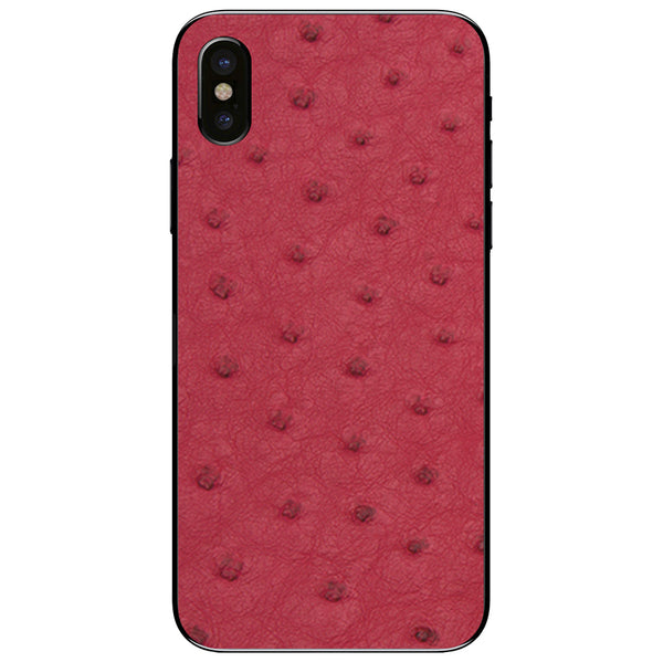 Red Ostrich iPhone X Leather Skin