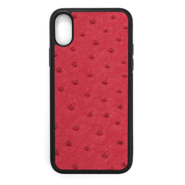 Red Ostrich iPhone X Leather Case