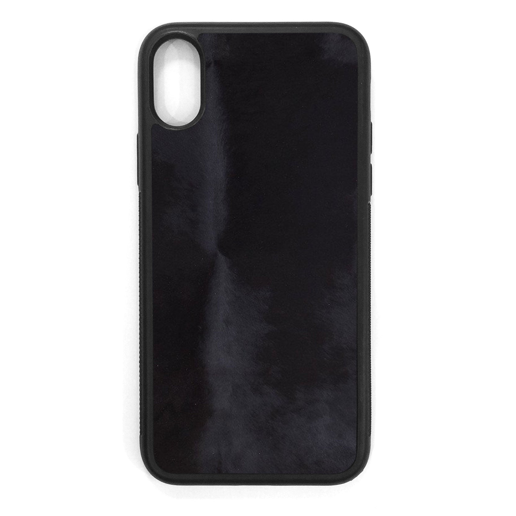 Black Pony Hair iPhone XS Leather Case