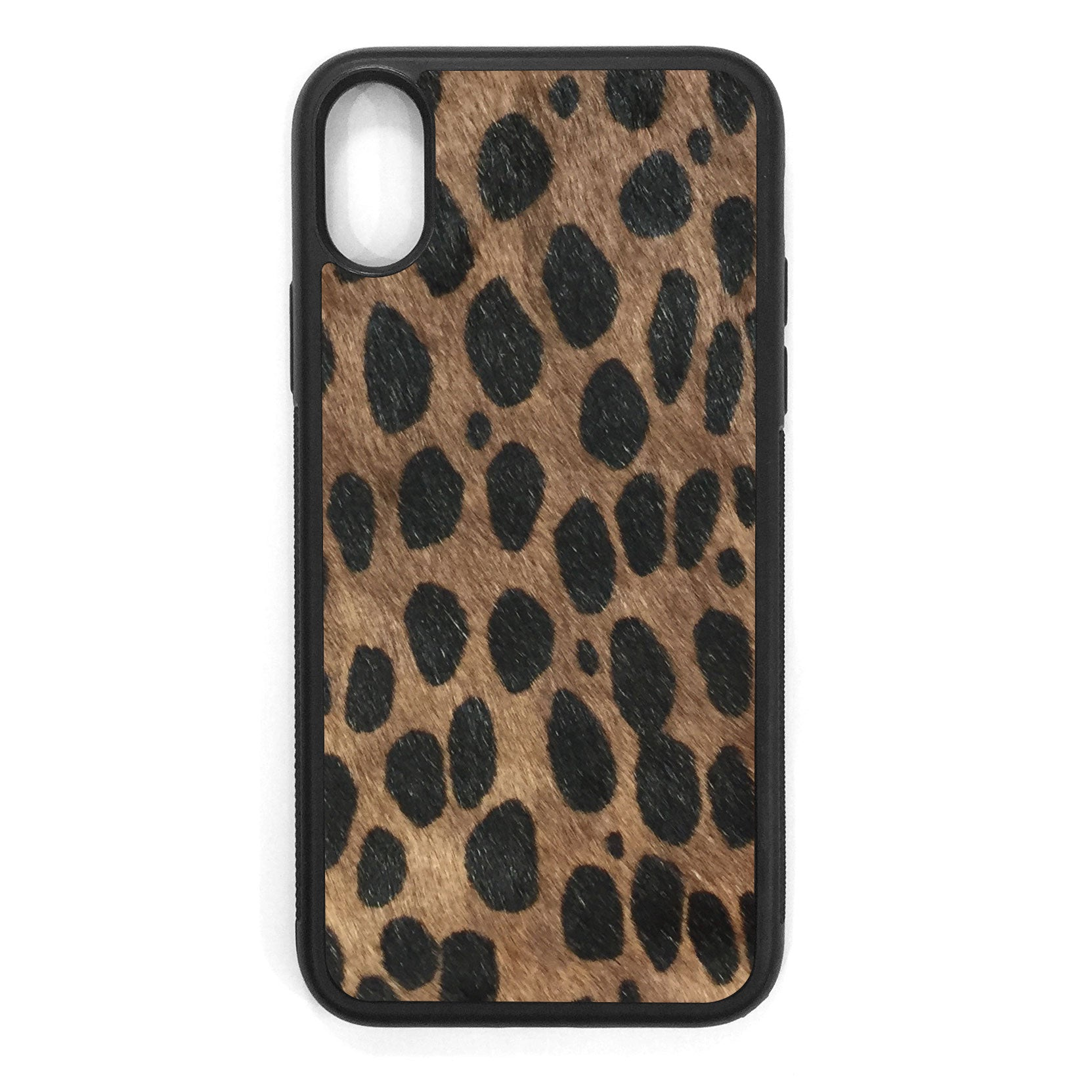 Brown Cheetah Pony Hair iPhone XS Leather Case