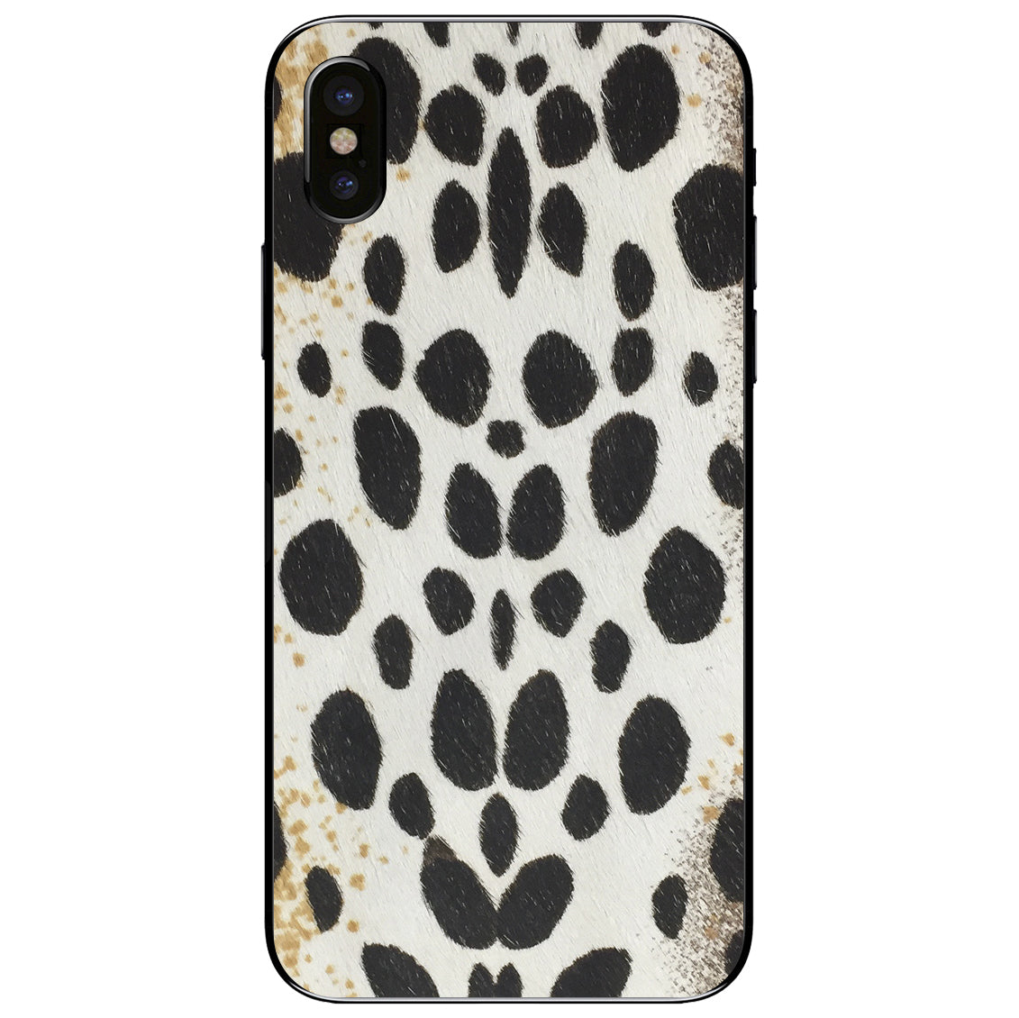 White Leopard Print Calf Hair iPhone X Leather Skin